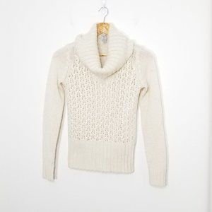 Tristan | Cowl Neck Open Knit Cream Sweater XS